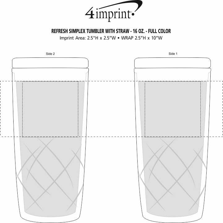 Imprint Area of Refresh Simplex Tumbler with Straw - 16 oz.