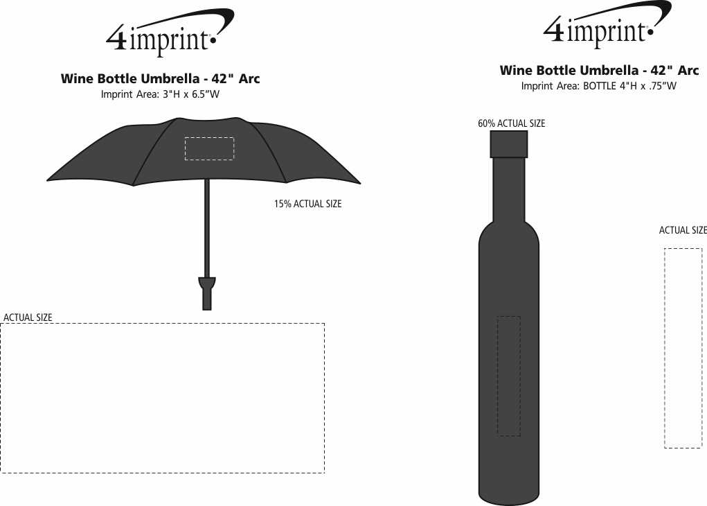 "Imprint Area of Wine Bottle Umbrella - 42"" Arc"
