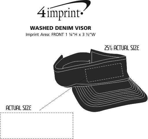 Imprint Area of Washed Denim Visor