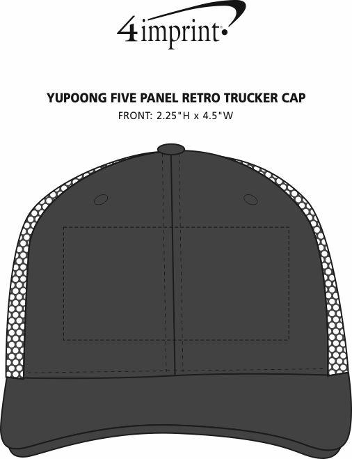 Imprint Area of Yupoong Five Panel Retro Trucker Cap