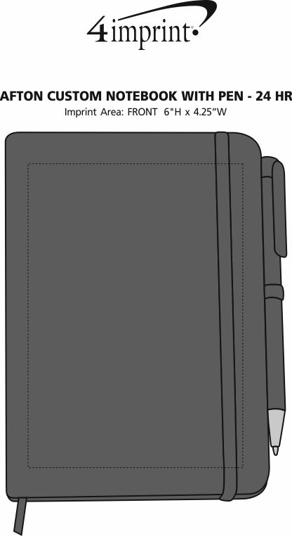 Imprint Area of TaskRight Afton Notebook with Pen - 24hr