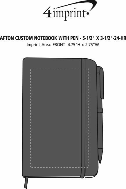 "Imprint Area of Afton Custom Notebook with Pen - 5-1/2"" x 3-1/2"" - 24 hr"