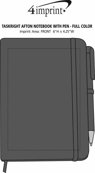 Imprint Area of TaskRight Afton Notebook with Pen - Full Color