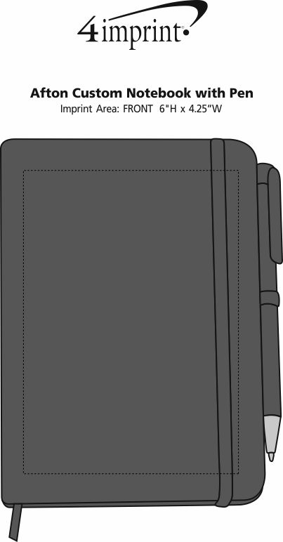 Imprint Area of TaskRight Afton Notebook with Pen