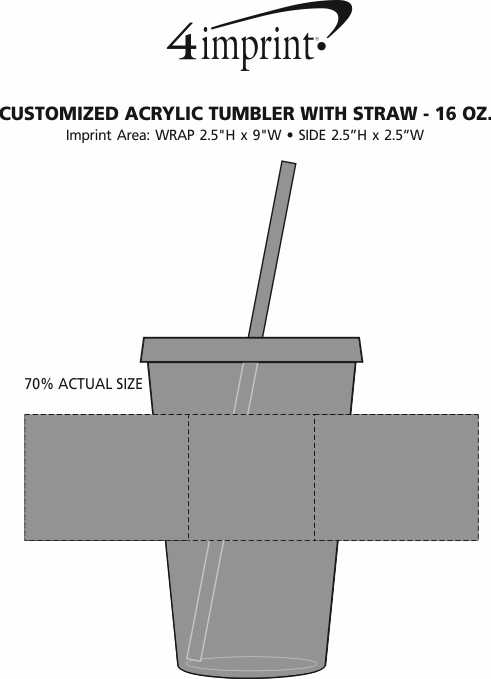 Imprint Area of Customized Acrylic Tumbler with Straw - 16 oz.