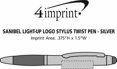 Imprint Area of Sanibel Light-Up Logo Stylus Twist Pen - Silver - 24 hr