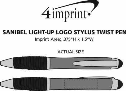 Imprint Area of Sanibel Light-Up Logo Stylus Twist Pen