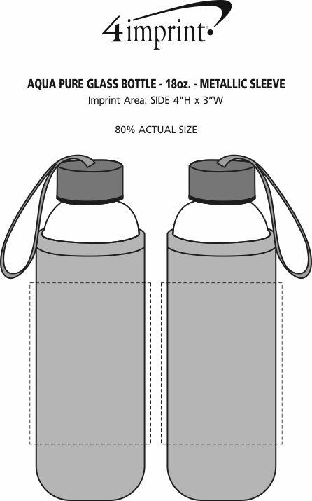 Imprint Area of Aqua Pure Glass Bottle - 18 oz. - Metallic Sleeve