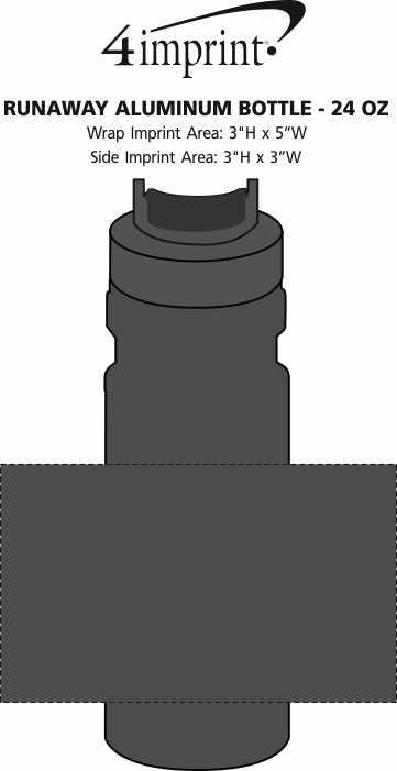 Imprint Area of Runaway Aluminum Bottle - 24 oz.
