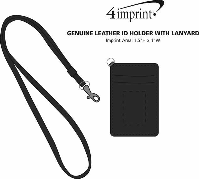 Imprint Area of Genuine Leather ID Holder with Lanyard