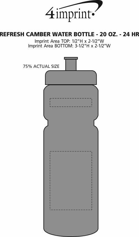 Imprint Area of Refresh Camber Water Bottle - 20 oz. - 24 hr