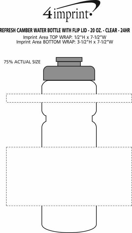 Imprint Area of Refresh Camber Water Bottle with Flip Lid - 20 oz. - Clear - 24 hr