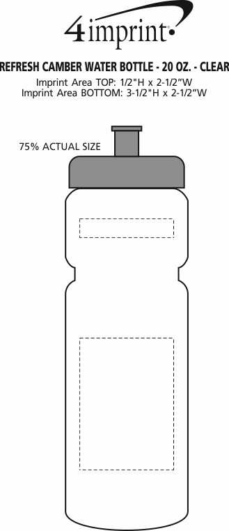 Imprint Area of Refresh Camber Water Bottle - 20 oz. - Clear