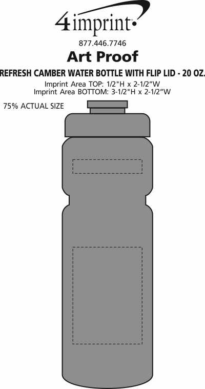 Imprint Area of Refresh Camber Water Bottle with Flip Lid - 20 oz.
