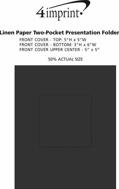 Imprint Area of Linen Paper Two-Pocket Presentation Folder