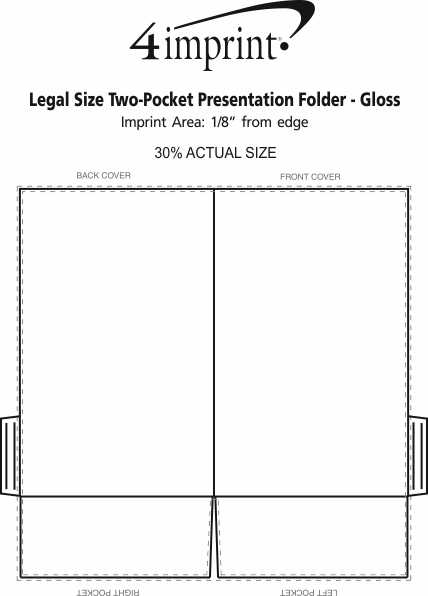 Imprint Area of Legal Size Two-Pocket Presentation Folder - Gloss