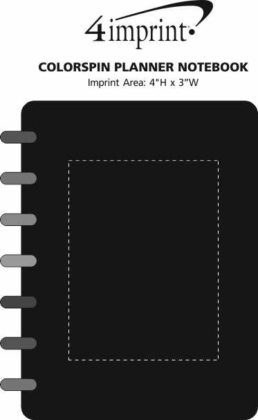 Imprint Area of Colorspin Planner Notebook