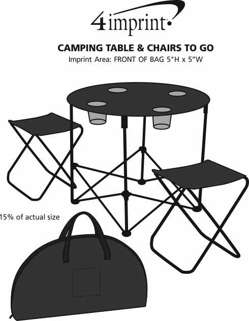 Imprint Area of Camping Table & Chairs to Go