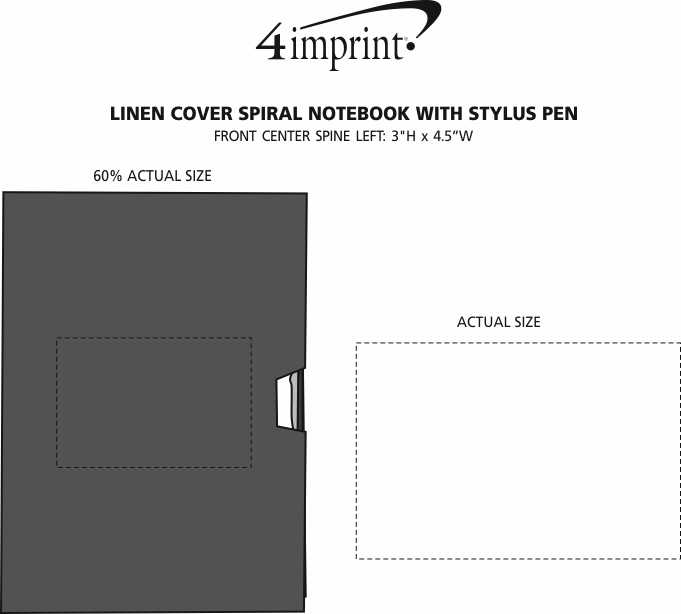 Imprint Area of Linen Cover Spiral Notebook with Stylus Pen