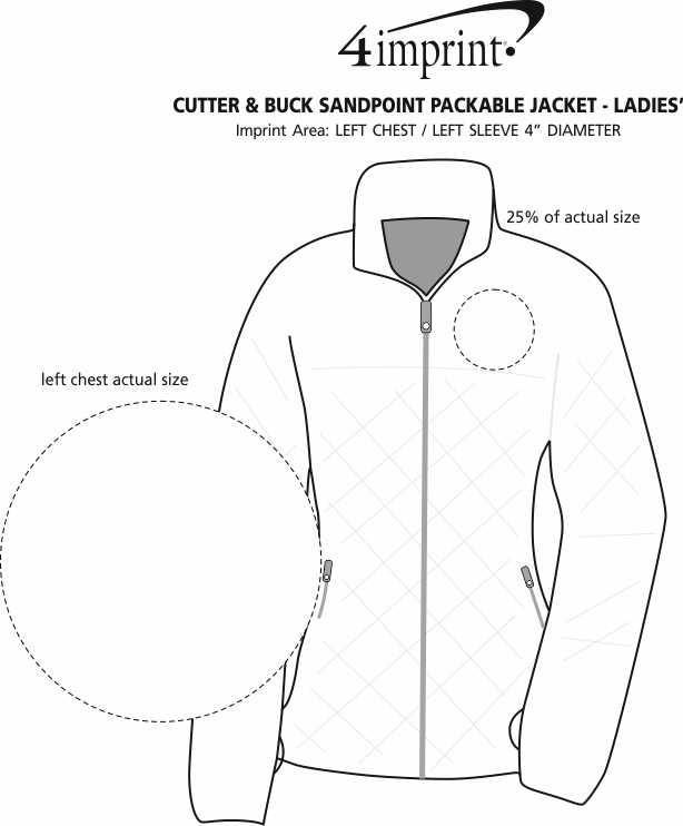 Imprint Area of Cutter & Buck Sandpoint Packable Jacket - Ladies'