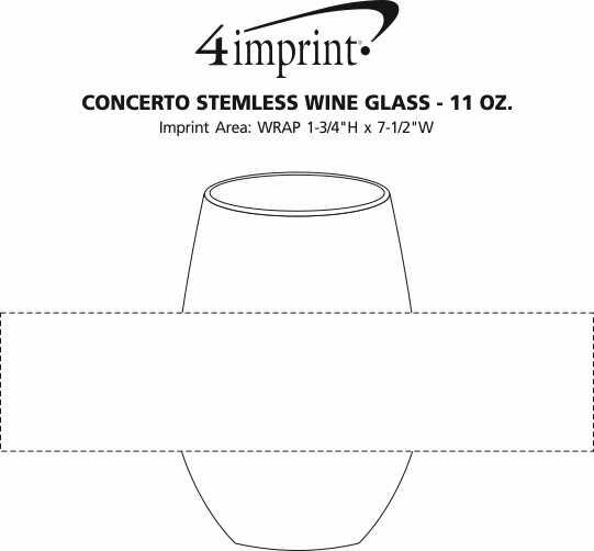 Imprint Area of Concerto Stemless Wine Glass - 11.5 oz.