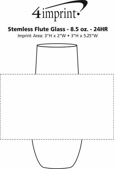 Imprint Area of Stemless Flute Glass - 8.5 oz. - 24 hr