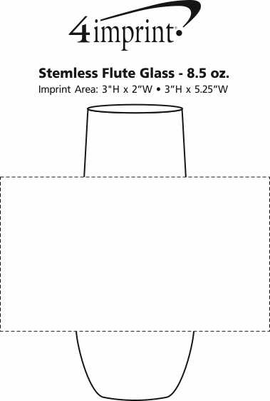 Imprint Area of Stemless Flute Glass - 8.5 oz.