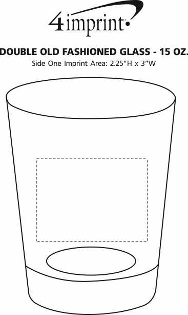 Imprint Area of Double Old Fashioned Glass - 15 oz.