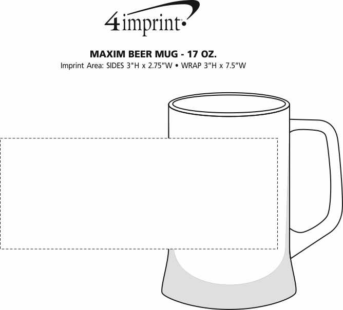 Imprint Area of Maxim Beer Mug - 17 oz.