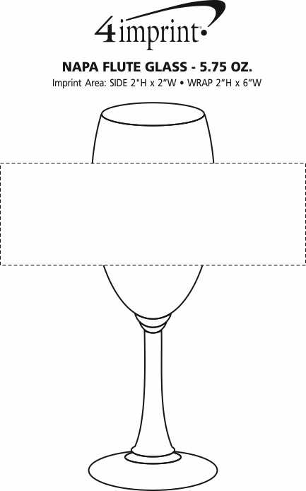 Imprint Area of Napa Flute Glass - 5.75 oz.