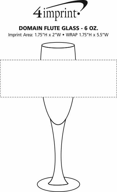 Imprint Area of Domain Flute Glass - 6 oz.