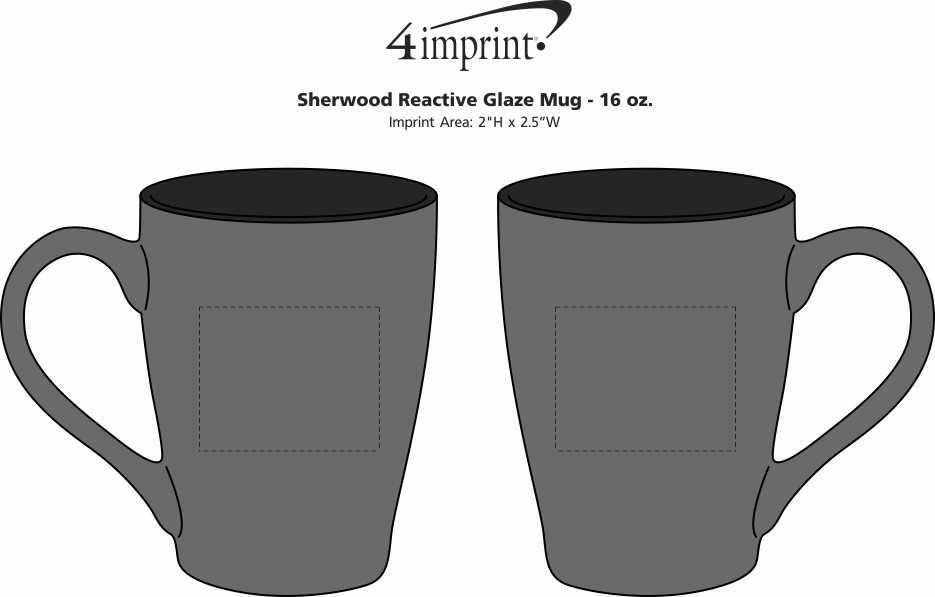 Imprint Area of Sherwood Reactive Glaze Mug - 16 oz.