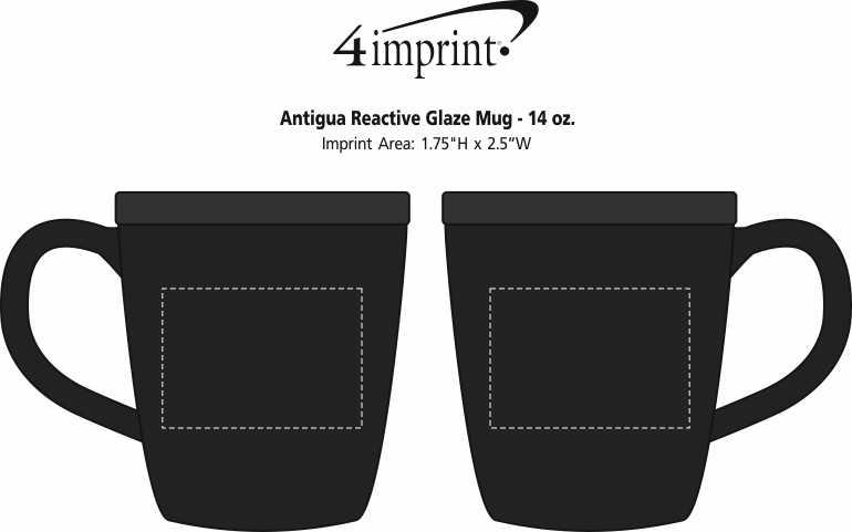 Imprint Area of Antigua Reactive Glaze Mug - 14 oz.