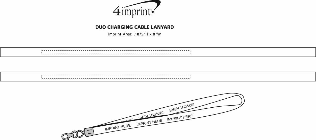 Imprint Area of Duo Charging Cable Lanyard