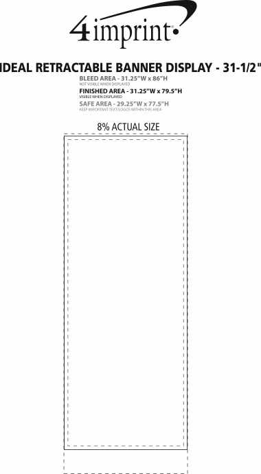 """Imprint Area of Ideal Retractable Banner Display - 31-1/2"""""""