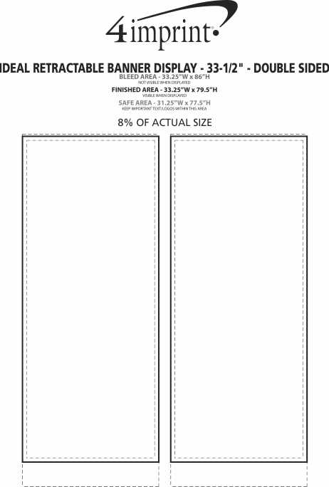 """Imprint Area of Ideal Retractable Banner Display - 33-1/2"""" - Double Sided"""