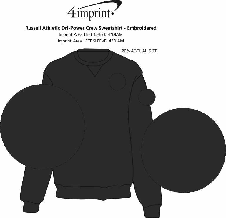 Imprint Area of Russell Athletic Dri-Power Crew Sweatshirt - Screen