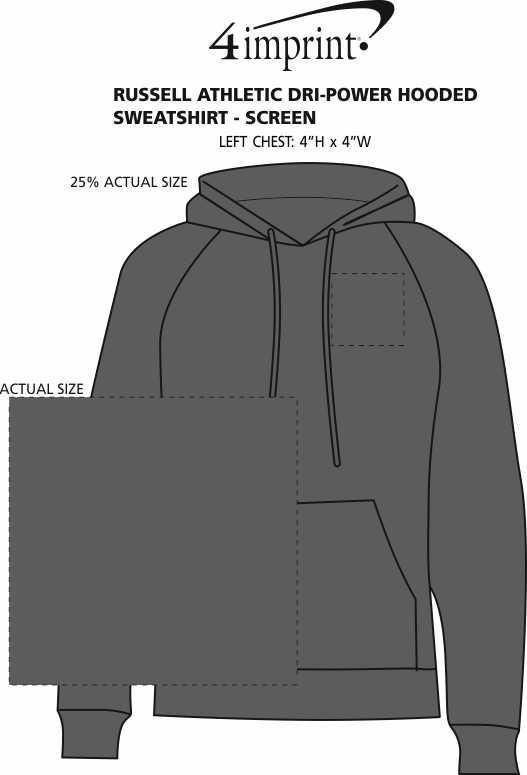 Imprint Area of Russell Athletic Dri-Power Hooded Sweatshirt - Screen