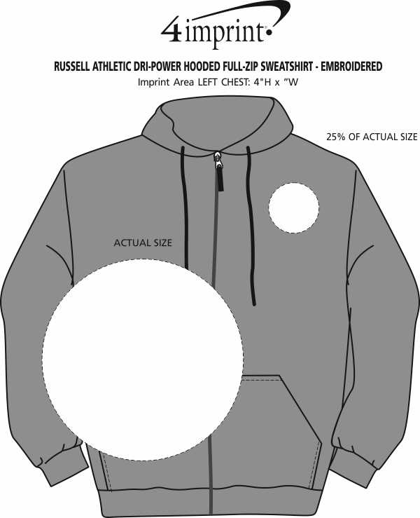 Imprint Area of Russell Athletic Dri-Power Hooded Full-Zip Sweatshirt - Embroidered