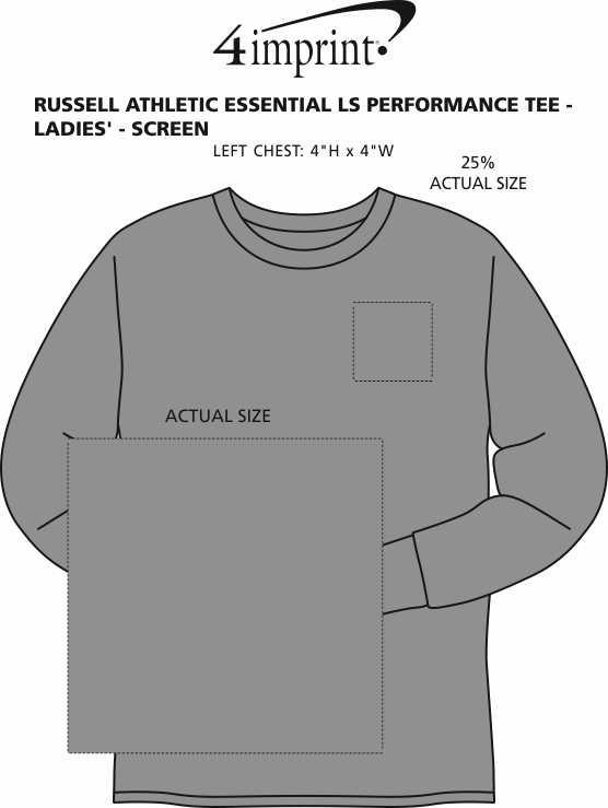 Imprint Area of Russell Athletic Essential LS Performance Tee - Ladies' - Screen