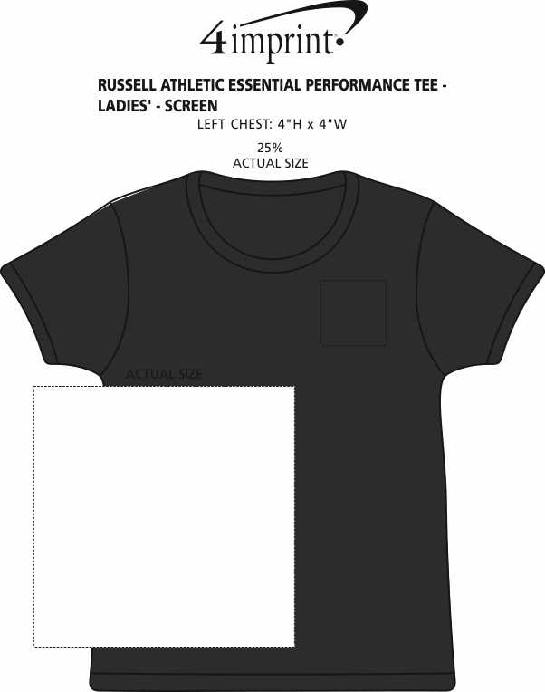 Imprint Area of Russell Athletic Essential Performance Tee - Ladies' - Screen