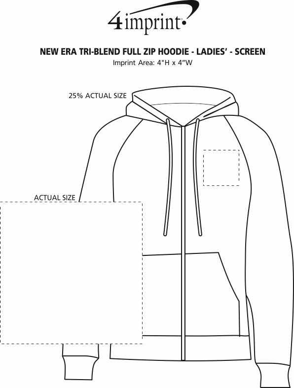 Imprint Area of New Era Tri-Blend Full-Zip Hoodie - Ladies' - Screen