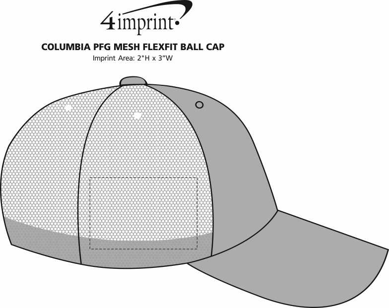 Imprint Area of Columbia PFG Mesh Flexfit Ball Cap