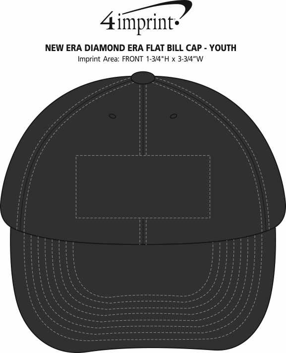 Imprint Area of New Era Diamond Era Flat Bill Cap - Youth