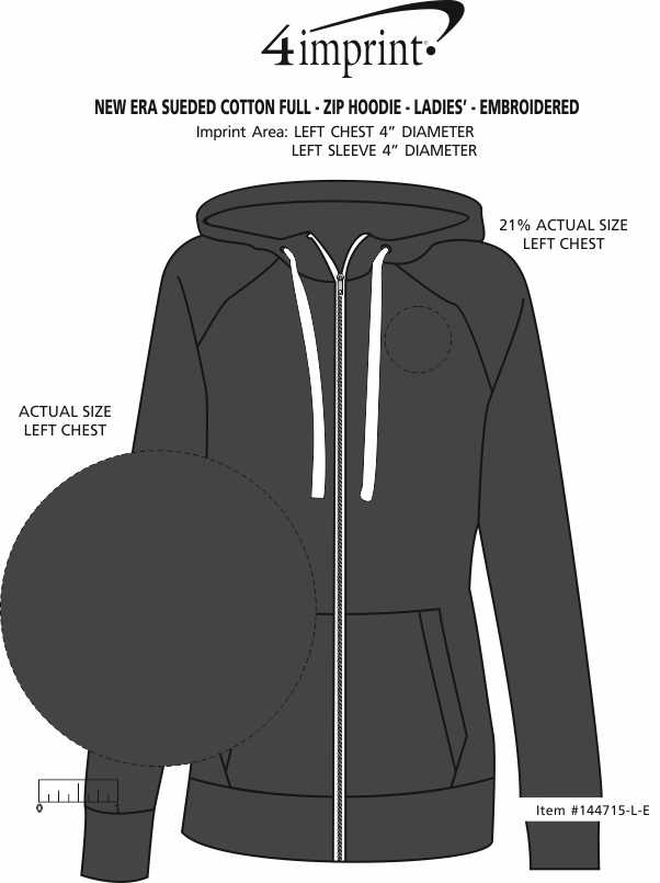 Imprint Area of New Era Sueded Cotton Full-Zip Hoodie - Ladies' - Embroidered