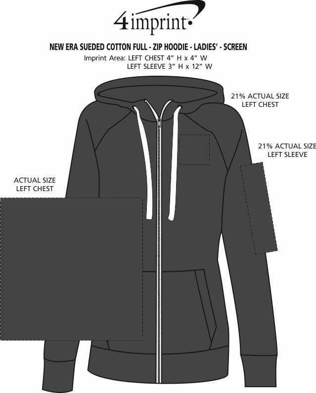 Imprint Area of New Era Sueded Cotton Full-Zip Hoodie - Ladies' - Screen