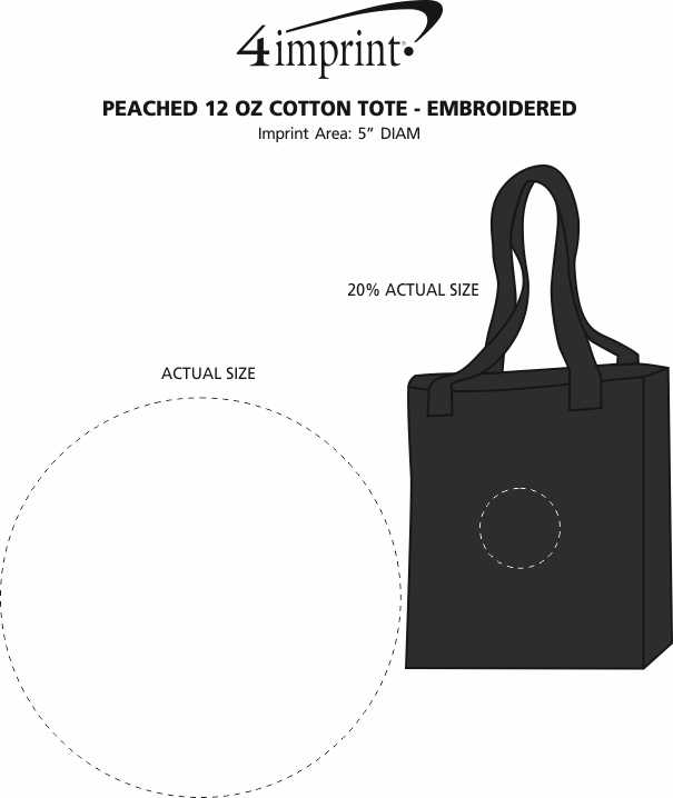 Imprint Area of Peached 12 oz. Cotton Tote - Embroidered