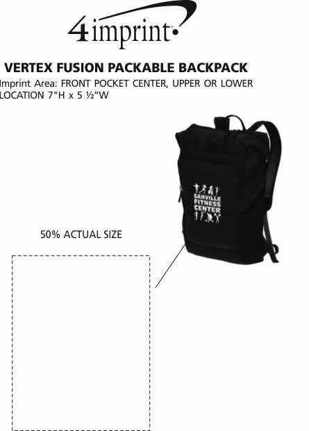 Imprint Area of Vertex Fusion Packable Backpack