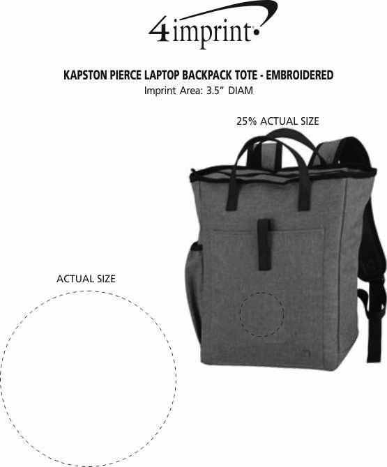 Imprint Area of Kapston Pierce Laptop Backpack Tote - Embroidered