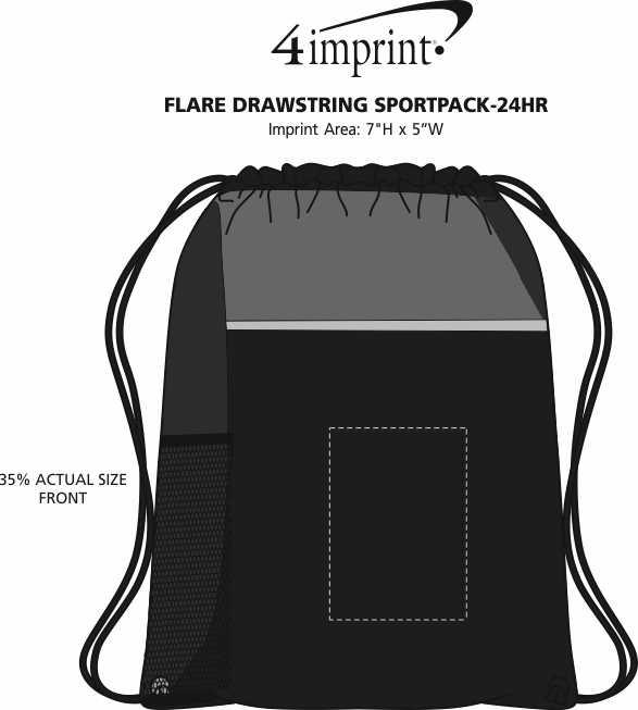 Imprint Area of Flare Drawstring Sportpack - 24 hr